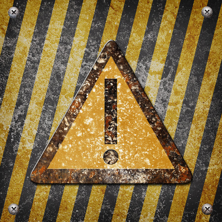louver boards: Industrial grungy steel plate with black and yellow strip  under beware sign