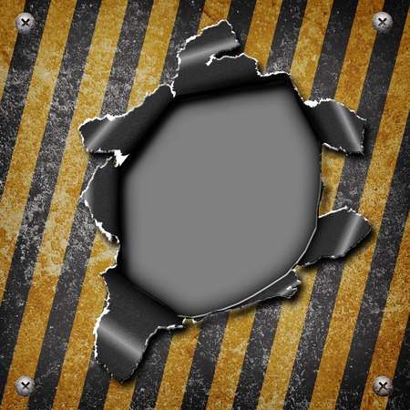 louver boards: Industrial grungy steel plate with black and yellow strip and hole