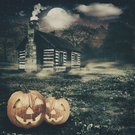 spooky place, abstract halloween backgrounds with jack-o-lantern and abandoned house