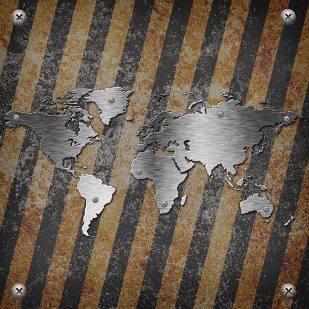 louver boards: Industrial grungy steel plate with black and yellow strip and Earth map