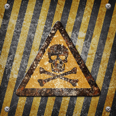 louver boards: Industrial grungy steel plate with black and yellow strip under danger sign