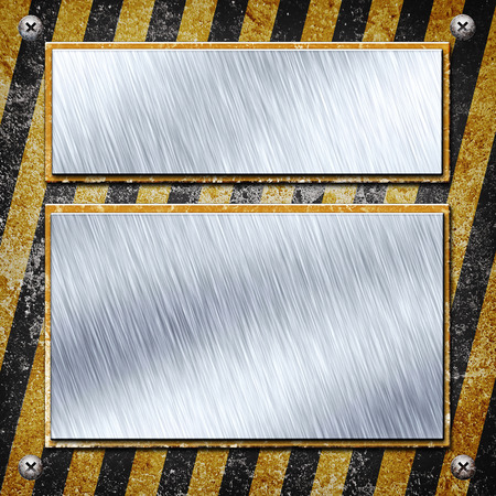 louver boards: Industrial grungy steel plate with black and yellow strip
