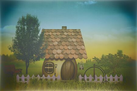 beauty farm: beauty farm with little house and bike, abstract grungy backgrounds Stock Photo