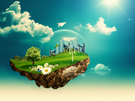 Vliegende eiland. Abstracte milieu-achtergronden voor uw ontwerp