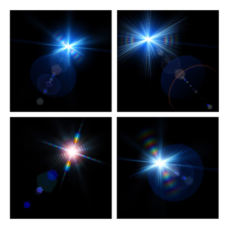 camera flash: Set of assorted abstract light backgrounds for your design