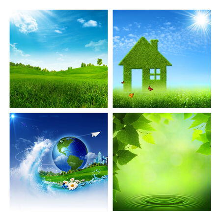 green power: Set of assorted environmental backgrounds for your design Stock Photo