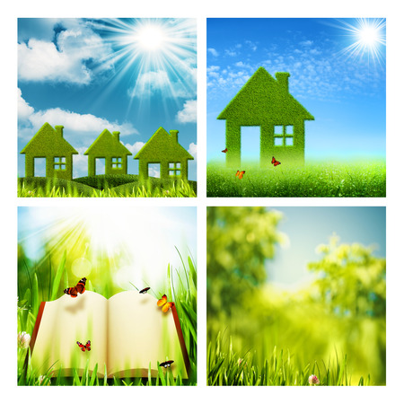 eco house: Set of assorted environmental backgrounds for your design Stock Photo