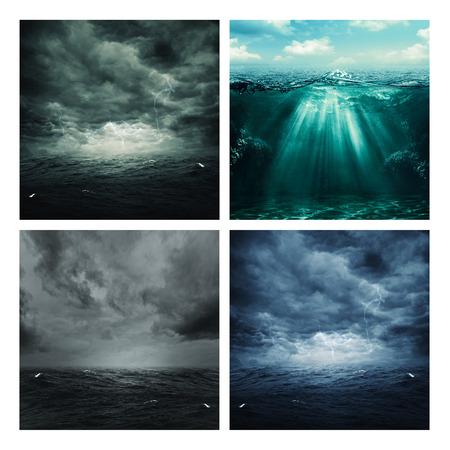 devastating: Set of assorted marine backgrounds for your design
