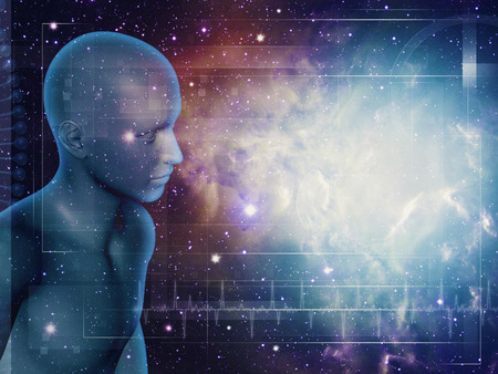 Wandelen door Universum, abstracte wetenschap achtergronden met 3D menselijke figuur