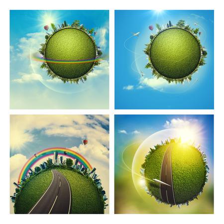 turismo ecologico: Fondos ambientales abstractas conjunto con el globo de la tierra para su diseño Foto de archivo