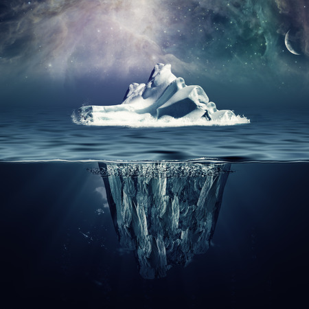 aurora borealis: Alone iceberg in the ocean under beauty northern skies