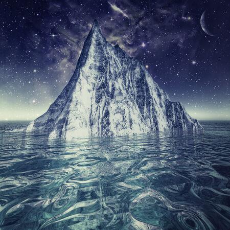 Alone iceberg in the ocean under beauty northern skies photo