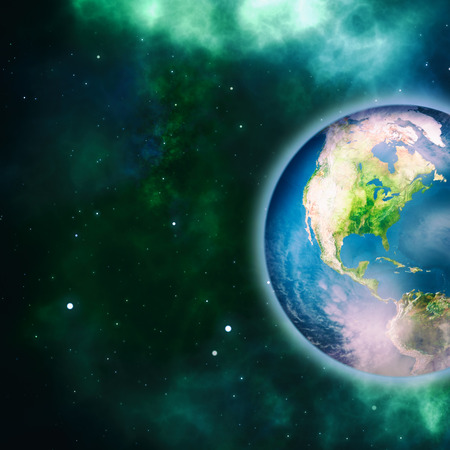 stargazing: Earth planet, science and environmental backgrounds.