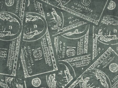 laundered: Grungy financial  background from hundred us dollar banknotes