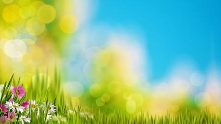 明るい夏の太陽の下で緑の葉の自然の背景