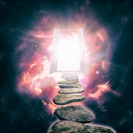 Open de deur naar een andere werkelijkheid, abstracte etherische achtergronden