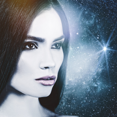 beautiful background: Look to the Universe, female portrait.