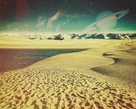 another: Fantastic backgrounds with another planet on the skies and dry desert