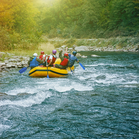 Rafting on the river. Carpathian mountains