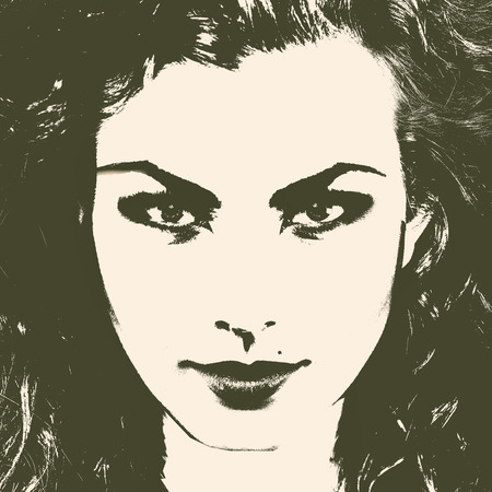 duotone: Art female portrait for your design. Duotone color