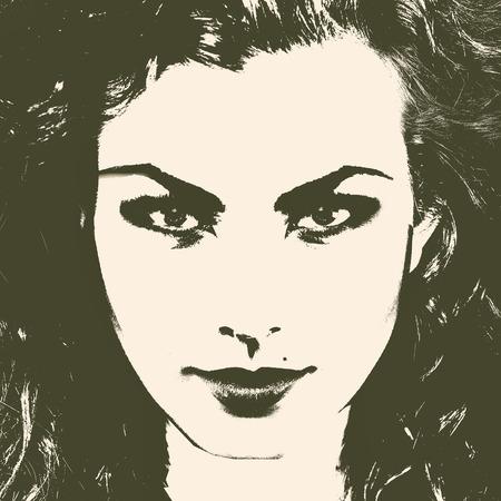 Art female portrait for your design. Duotone color