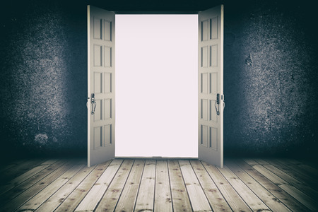Opened door. Abstract interior backgrounds with wooden floor and concrete wall