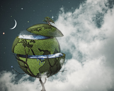 sliced: Global warming concept. Sliced Earth on the world tree against cloudy night skies