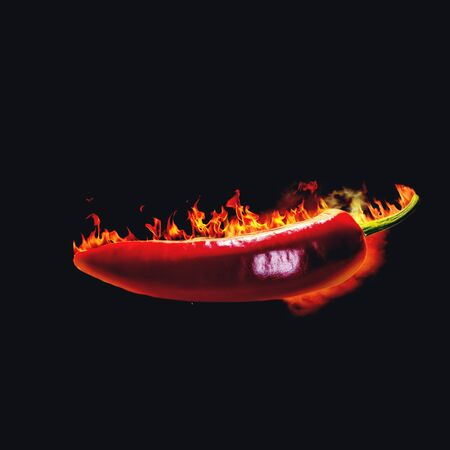 hellish: Red hot chili pepper. Spicy food backgrounds