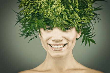 style woman: Funny female portrait with eco hair style Stock Photo