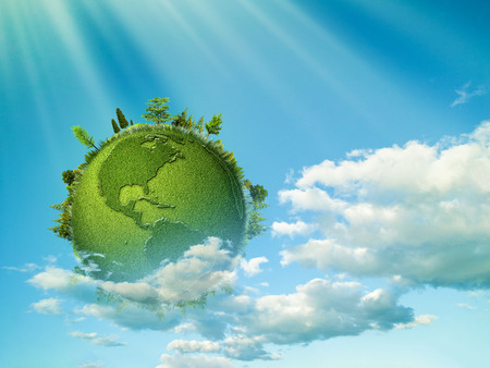 planeten: Grüner Planet. Abstrakte eco Hintergrund mit blauem Himmel, Wolken und Erde Globus