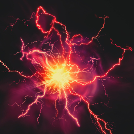 lightning storm: High voltage strike, abstract technology and science backgrounds