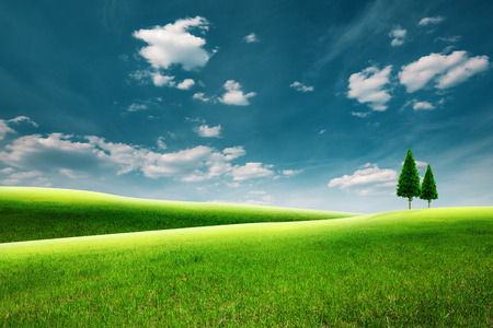 meadows: Summer rural landscape with green hills under blue skies Stock Photo