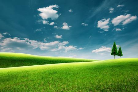 Zomer landschap met groene heuvels onder de blauwe hemel