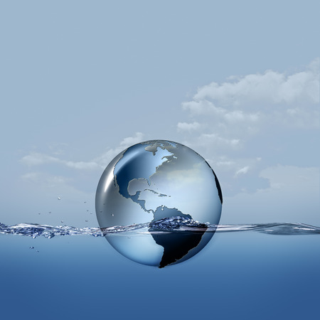 the surface of the water: Earth planet on the water waves, abstract eco backgrounds Stock Photo
