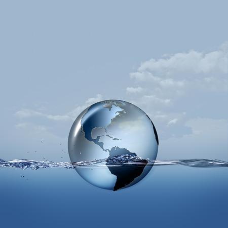 Pianeta terrestre sulle onde d'acqua, astratto eco backgrounds Archivio Fotografico - 45007350