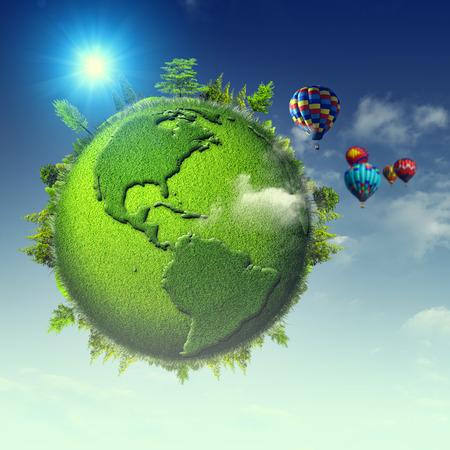 turismo ecologico: Planeta verde. Antecedentes eco abstractos con cielos azules, nubes y globo de la tierra