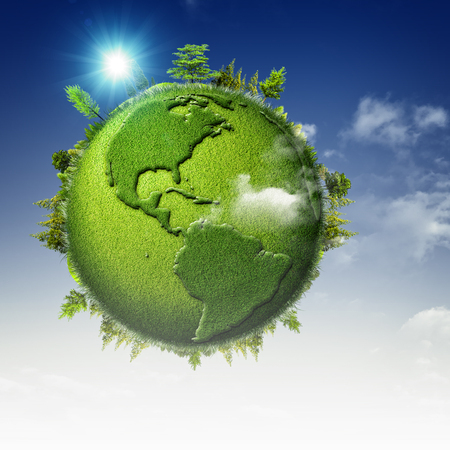 Green planet. Abstract eco backgrounds with blue skies, clouds and Earth globe