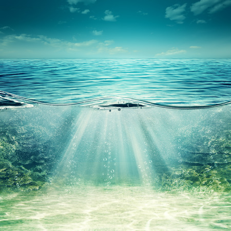 sea  scuba diving: Deep blue ocean. Abstract underwater backgrounds for your design Stock Photo