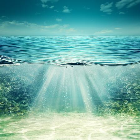 olas de mar: Océano azul profundo. Fondos subacuáticos abstractos para su diseño