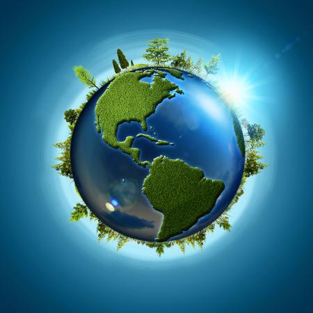 Blauwe planeet. Abstracte eco achtergronden met bol van de aarde en het bos Stockfoto