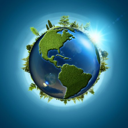 global earth: Blue planet. Abstract eco backgrounds with Earth globe and forest