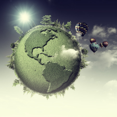 turismo ecologico: Green planet. Abstract eco backgrounds with blue skies, clouds and Earth globe
