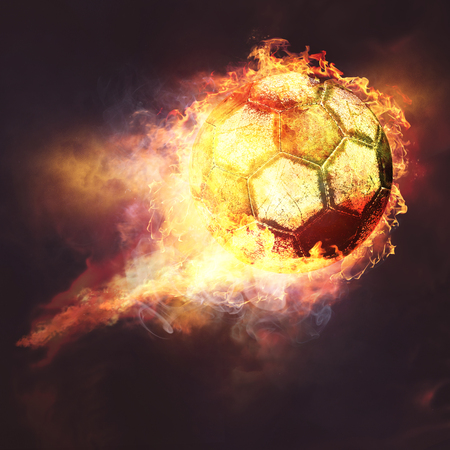 soccer background: Fire ball. Abstract sport soccer and football backgrounds