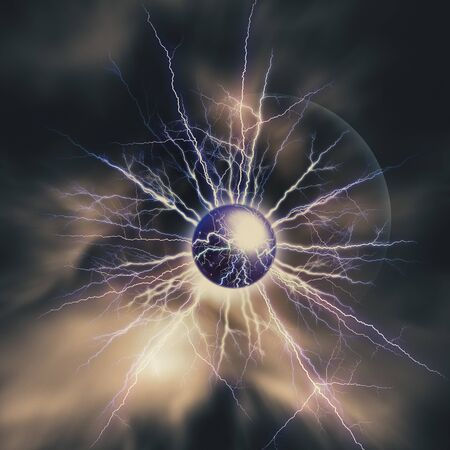 electric storm: Electric storm. Abstract science and power industry backgrounds