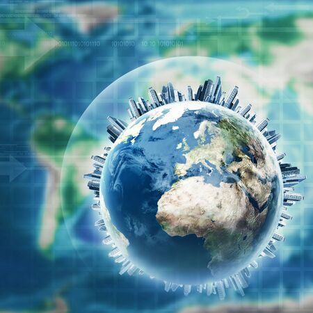 earth pollution: Earth globe against planet map, abstract environmental backgrounds