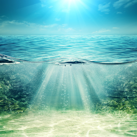lake: Deep blue ocean. Abstract underwater backgrounds for your design Stock Photo