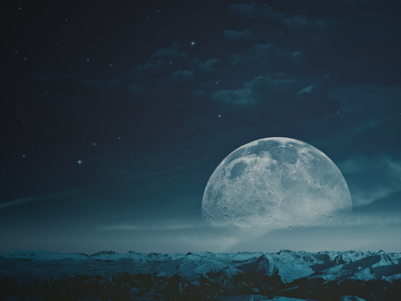 Foggy night with beauty Moon over snowy mountains.  Stock Photo