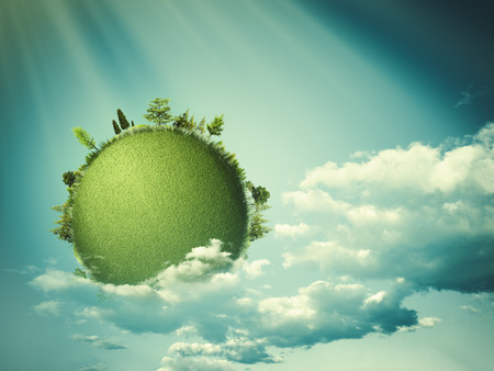 green eco: Green planet floating in the clouds, eco backgrounds Stock Photo