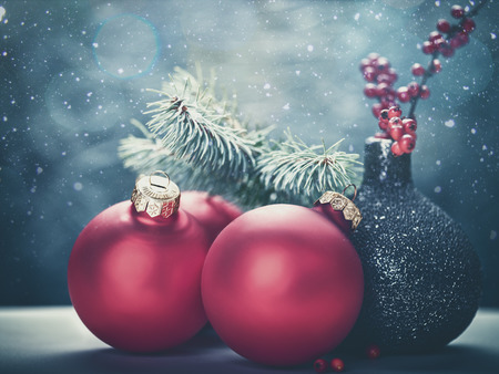 christmas gold: Abstract Christmas backgrounds with holiday decorations and red berries Stock Photo
