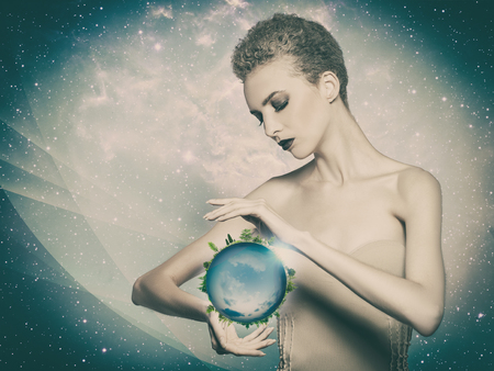 protection concept: Planet in her hands, abstract eco backgrounds Stock Photo